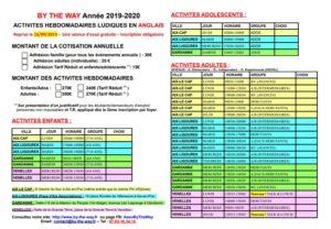 Planning des séances d'anglais 2019-2020 sur Aix-en-Provence, Gardanne et Venelles