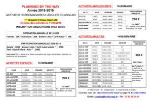 planning des activités en anglais de l'association By The Way sur Aix, Gardanne et Venelles.